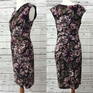 Connected Watercolor Floral Fitted Wrap Dress